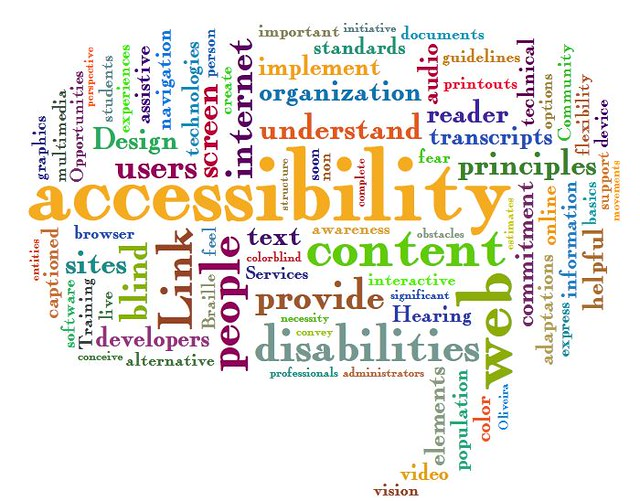 This is a word cloud for accessibility. The obvious words that jump out are content, web, people, link, internet, users, disabilities, commitment. It is multi-colored.
